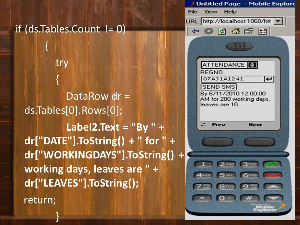 if (ds. Tables. Count. = 0) { try DataRow dr = ds. Tables[0]